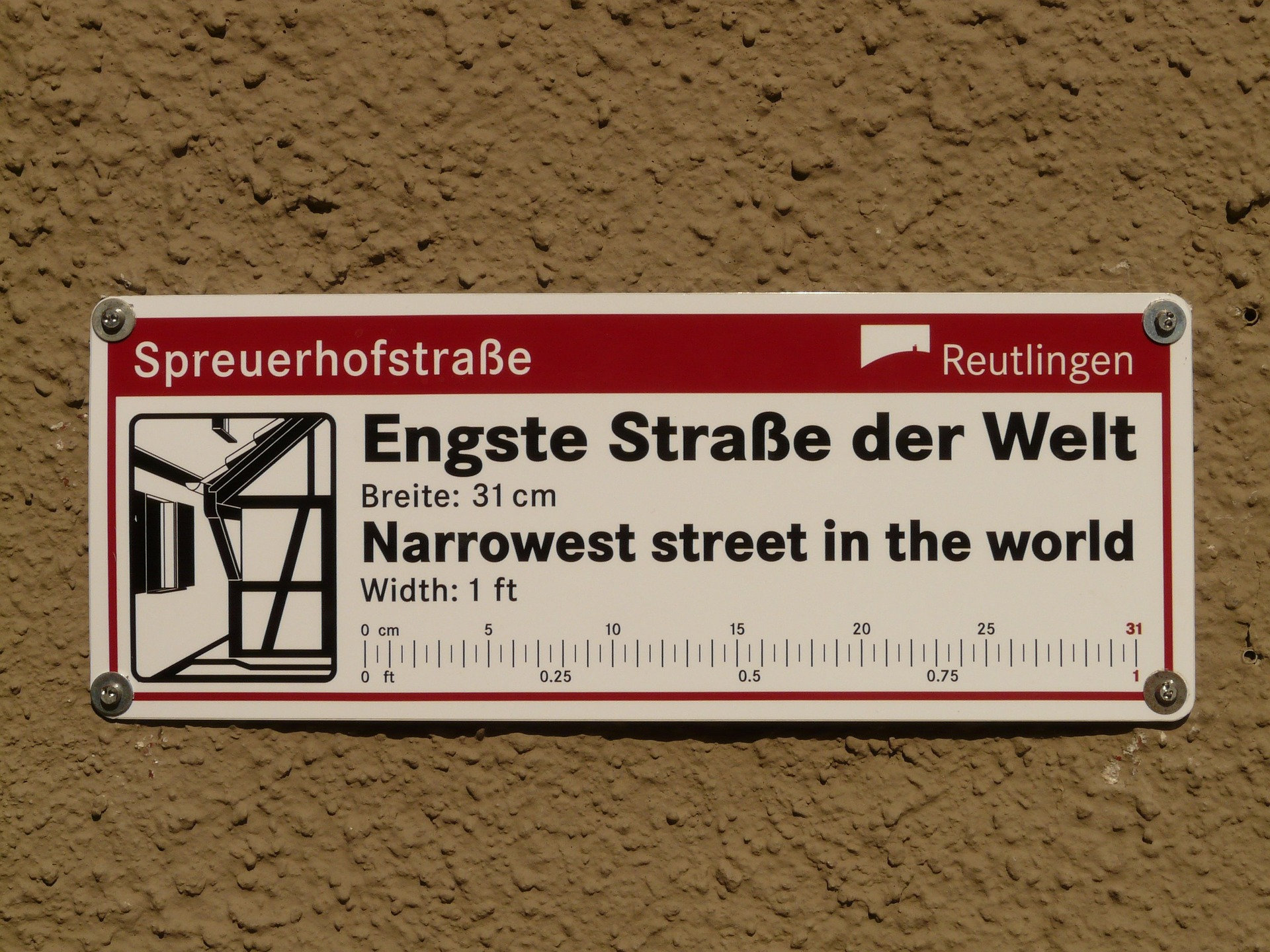 Narrowest street in the world sign