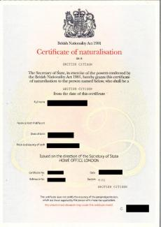 Naturalisation certificate UK home office