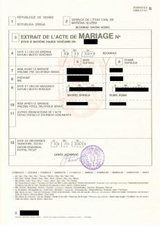 Multilingual marriage certificate