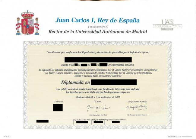 Spanish Degree Certificate