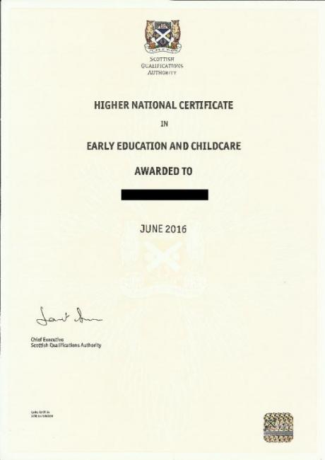 Scottish degree certificate